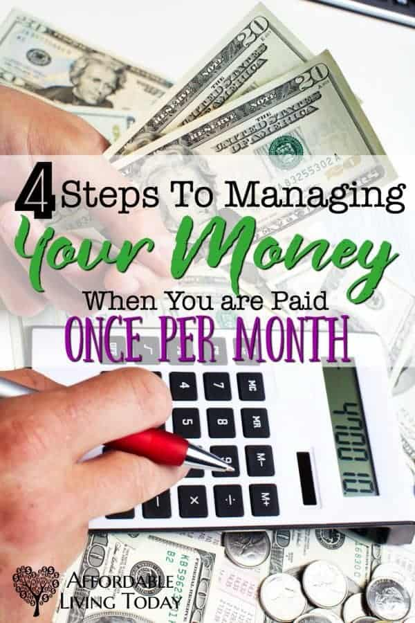 When you are only paid once per month, it can be hard to budget and make the money last. Here are some great tips for keeping on tabs of your budget with one paycheck.