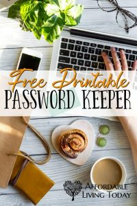 Free printable password tracker from Affordable Living Today!