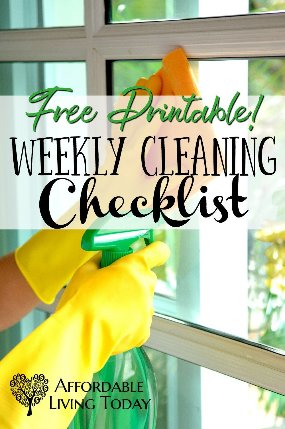 Get a free printable weekly cleaning checklist!